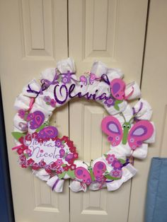 Baby girl diaper wreath