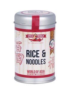 WORLD OF ASIA - RICE & NOODLES  Das World of Asia – Rice & Noodles. Das Rice & Noodles Gewürz kombiniert die besten Zutaten für den exotischen Asia-Genuss: Koriander, Cumin, Galgant, Ingwer, Cayenne Chili, Kardamom, Szechuanpfeffer, Canehl Zimt und Sternanis sind nur ein paar der zahlreichen Zutaten, die Asia-Noodles und Reis perfekt asiatisch abrunden. #worldofasia #asiatisch #asia #stayspiced #spiceworld Sashimi, Matcha, Coffee Cans, Seafood, Spices, Noodles, Canning, Drinks, Chili