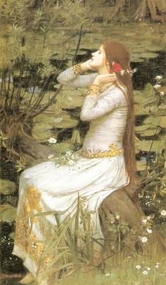 Ophelia - Artist: John William Waterhouse -  Completion Date: 1894 -  Style: Romanticism -  Genre: literary painting -  Technique: oil -  Material: canvas -  Gallery: Private Collection - http://www.wikiart.org/en/john-william-waterhouse/spring-spreads-one-green-lap-of-flowers-1910