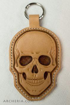 Leather skull keychain keyring  keyholder keyfob nature