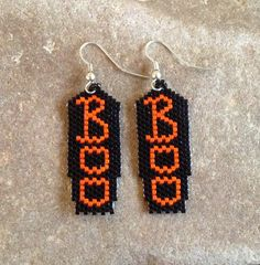 BOO Halloween Beaded  Earrings