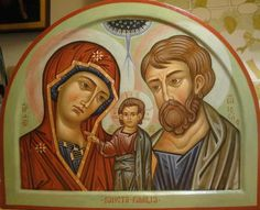 Sacra-Famiglia Religious Icons, Religious Art, Christ Is Risen, Holy Family, Orthodox Icons, St Joseph, Bible Stories, Holi, Saints