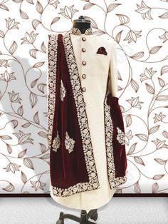 Custom Made Indian Wedding Sherwani by PARIVAR on Etsy dresses for men indian muslim Sherwani For Men Wedding, Wedding Dresses Men Indian, Groom Wedding Dress, Sherwani Groom, Mens Sherwani, How To Dress For A Wedding, Wedding Men, Wedding Suits, Punjabi Wedding