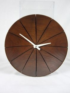 Vintage Teak Concave Wall Clock from Trish Hunter Finds