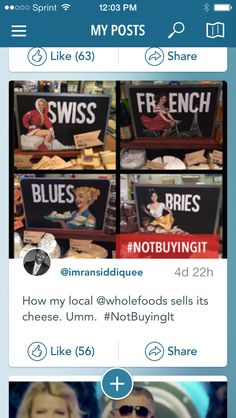 The #NotBuyingIt app works! RT @WholeFoodsNorCA: Thx for bringing cheese signs 2 our attention. We've pulled them.