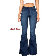 Sexy Women Fashion Denim High Waist Bell Bottoms Slim Fit Flared Jeans Pants 04d411f59c