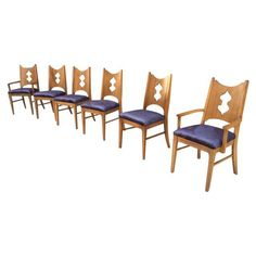 Image of Mid Century Walnut and Velvet Dining Chairs - S/6