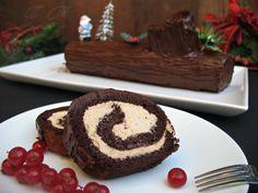 Tronco de navidad de chocolate y crema de café :: Vánoční kmen (pařez), čokoládový s kávovým krémem
