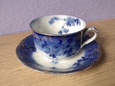 antique tea cup and saucer flow blue Ridgeways by ShoponSherman, $75.00