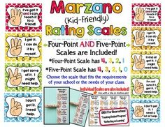 ****This kit is now available as part of a money-saving BUNDLE! Check it out here (Click on the title):  Save With a Bundle: Behavior Clip Chart System and Marzano Kid-Friendly ScalesThis bright 14 page kit includes 2 separate sets of scales to display in your classroom.