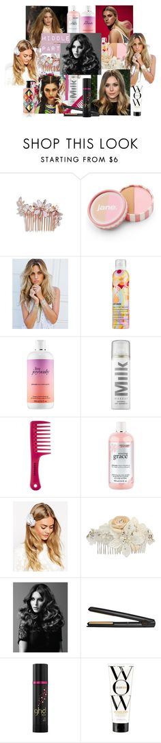 """Middle Hair Part Trend/ Beauty Style with friends"" by mkrg ❤ liked on Polyvore featuring beauty, Camilla Christine, jane, Lulu DK, amika, philosophy, Sephora Collection, ASOS, RTR Bridal Accessories and BaByliss Pro"