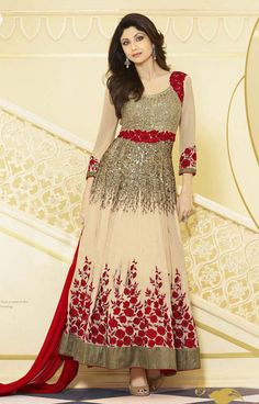 Ethnic Beige Color #Anarkali Salwar Suit @ http://www.indiandesignershop.com/product/ethnic-beige-color-anarkali-salwar-suit/