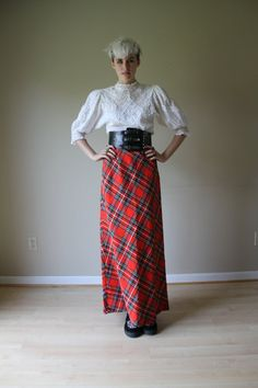 SALE 70s Maxi Skirt Tartan Wool Long Gown with by closetcaseVNTG