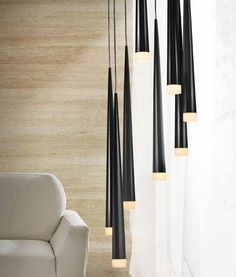 Long Drop Fluted 8 Shade Light - Black, White or Chrome