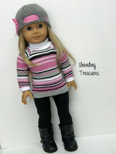 American Girl doll clothes, 18 inch doll clothes, American Girl clothes, gray/pink sweater, black leggings, and gray/pink knit hat