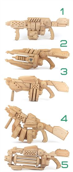 Set Of 2 Wooden Blasters . Made Of Eco Friendly Pine. Futuristic Eco Toys…