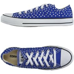 Converse Limited Edition Low-tops & Trainers ($135) ❤ liked on Polyvore featuring shoes, sneakers, blue, flat sneakers, blue shoes, low profile shoes, blue rhinestone shoes and round cap