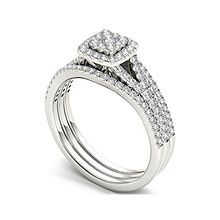 2ce18d215575c T.W. Diamond Cluster 10K White Gold Bridal Ring Set - JCPenney
