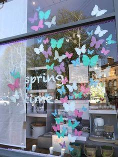 Butterflies - Scatter Kit - in a fresh Spring / Summer shop window by Marie Brow. Spring Window Display, Window Display Retail, Window Display Design, Salon Window Display, Retail Windows, Charity Shop Display Ideas, Boutique Window Displays, Glasgow, Window Art