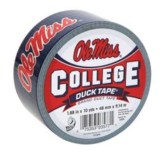 University of Mississippi College Duck Tape® brand duct tape http://duckbrand.com/products/duck-tape/licensed/college-duck-tape/mississippi-188-in-x-10-yd?utm_campaign=college-duck-tape-general&utm_medium=social&utm_source=pinterest.com&utm_content=college-duck-tape