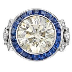 Raymond Yard GIA Cert 8.02 Carat Round Brilliant Diamond Sapphire platinum Ring | From a unique collection of vintage cocktail rings at www.1stdibs.com/…