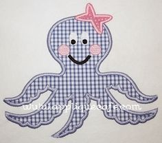 Applique Cafe - Octopus (with or without bow and cheeks, could be for boy or girl)