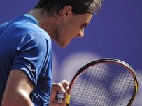 Rafael Nadal celebrates a point over Albert Ramos during the Barcelona open tennis in Barcelona, Spain, Wednesday, April 23, 2014. (AP Photo/Manu Fernandez)