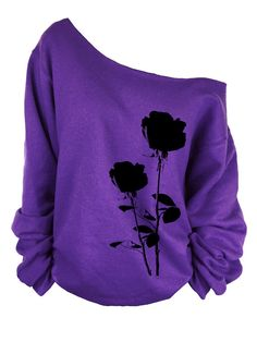 35813f84beaa5 Rose print oversized off shoulder raw edge sweatshirt  rose lovers  rose  club  flower