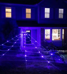 Giant 23-Foot Light-Up Spider Web with Two Jumbo Spiders | HearthSong Halloween Spider, Halloween Season, Halloween Yard Decorations, Halloween Crafts For Kids, Backyard Toys, Light Up, The Neighbourhood, Spiders, Haloween Ideas