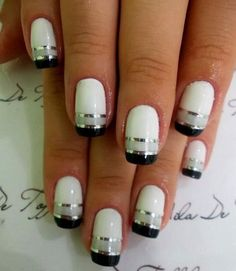 Cool Nail Polish Ideas With White Base Dark Tips And Silvery Grey Lines