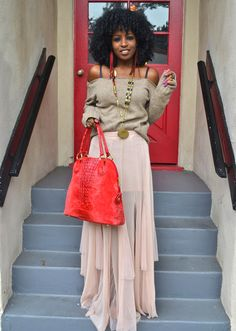I'm loving off the shoulder whether it's on/off trend and I adore long skirts.  This is a win!
