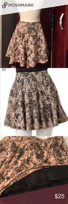 Black and Tan Lace Skater skirt NWOT  Black and Tan lace skirt with elastic waist.  Under is black lined.  Perfect length.  ❌NO TRADES❌ Joe Benbasset Skirts A-Line or Full
