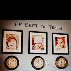 Saw this idea to hang pictures of your kids with a clock stopped on the time they were born & really liked it.