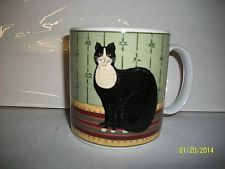 "2000 Sakura WARREN KIMBLE Folk Artsy FAT BLACK CAT ""Cat Collection"" Cup/Mug"