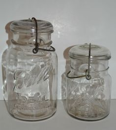 Ball Ideal Mason Jars Vintage Glass Clear With Lids Wire Bails 1910-1933 #1 & #2