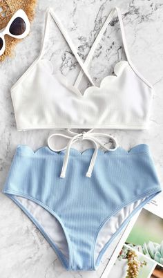 2019 Ribbed Scalloped Color Block Bikini Set - White Style: Fashion Swimwear Type: Bikini Gender: For Women Material: Polyester,Spandex Bra Style: Padded Support Type: Wire Free Collar-line: Spaghetti Straps Pattern Type: Others Decoration: Bathing Suits For Teens, Summer Bathing Suits, Cute Bathing Suits, Summer Swimwear, Women Swimsuits, Cute Swimsuits High Waisted, Bathing Suit Bottoms Cheeky, Textiles Y Moda, Bathing Suits