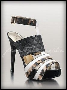 white quilted platform boots | New Guess Black Quilted White Multi Kasden Cheetah Shoes Sandals Heels ...