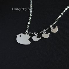 Bird family necklace bird necklace STERLING SILVER  mommy by chiky, $29.00