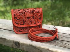 "Hand Tooled leather Mini Crossbody, ""Esmeralda"" by ALLE, Mexican purse Tooled Leather, Leather Tooling, Leather Crossbody, Orange Leather, Grey Leather, Small Leather Bag, Crossbody Clutch, Natural Leather, 3 D"