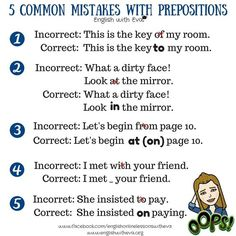 Common mistakes with prepositions #learnenglish https://plus.google.com/+AntriPartominjkosa/posts/dgdv9UWYWwt