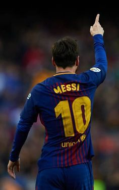 Lionel Messi of Barcelona celebrates after scoring his sides first goal during the La Liga match between FC Barcelona and Atletico de Madrid at Camp. Fc Barcelona Players, Fcb Barcelona, Messi And Neymar, Messi 10, Premier League, Messi Pictures, Cr7 Junior, Lionel Messi Wallpapers, Soccer Tips