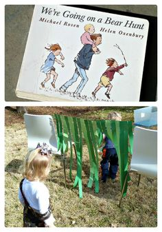 "Do your kids like the book We're Going on a Bear Hunt?""  Check out this awesome Obstacle Course to go with it!"