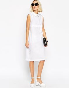 ASOS White | ASOS WHITE Sleeveless Shirt Dress in Sheer Poplin at ASOS
