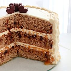 SugaryWinzy Basket Weave Frosting on Banana Chocolate Chip Layer Cake