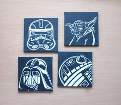 star wars art . 4 - 12x12 canvases . millennium falcon, darth vader, storm trooper, R2D2 or yoda. hand painted original art. navy blue decor...