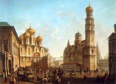 The Cathedral Square in the Moscow Kremlin | Fyodor Alexeyev | oil painting #russianpaintings