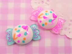 6 x Large Candy Sweets Pink & Blue Flat Back Resin Cabochon Beads for Kawaii Crafts, Decoden etc - 31mm. £2.45, via Etsy.