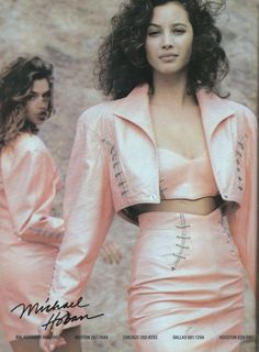 All leather outfits (big time 80s!) North beach leather 1988  Models : Christy Turlington & Cindy Crawford