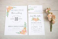 Peach Wedding Invitation Set  Floral by ChynnaHansenDesigns