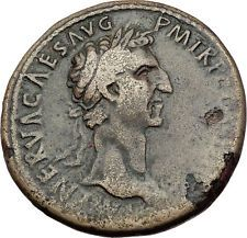NERVA Genuine 97AD Rome SESTERTIUS Authentic Ancient Roman Coin FORTUNA i65292